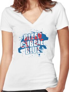 Bleed Cubbie Blue Women's Fitted V-Neck T-Shirt