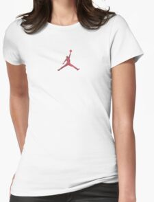 Jordan Red Camo Logo Womens Fitted T-Shirt