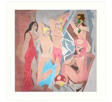 Les Demoiselles d'Royaume Champignon Art Print