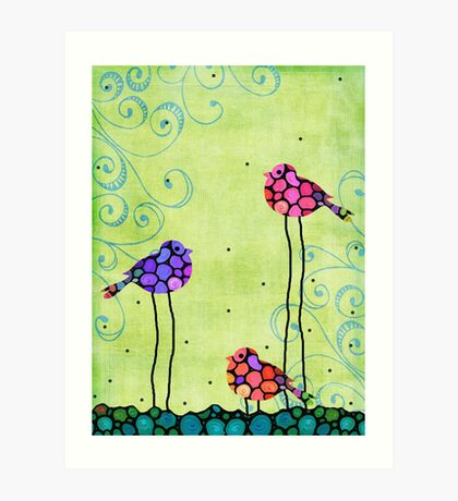 Three Birds - Spring Art - Bird Art By Sharon Cummings Art Print