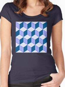 CUBE - blue Women's Fitted Scoop T-Shirt