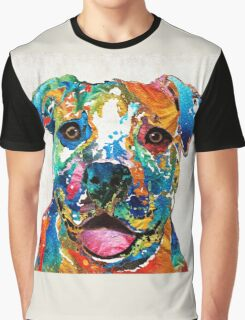 Colorful Dog Pit Bull Art - Happy - By Sharon Cummings Graphic T-Shirt