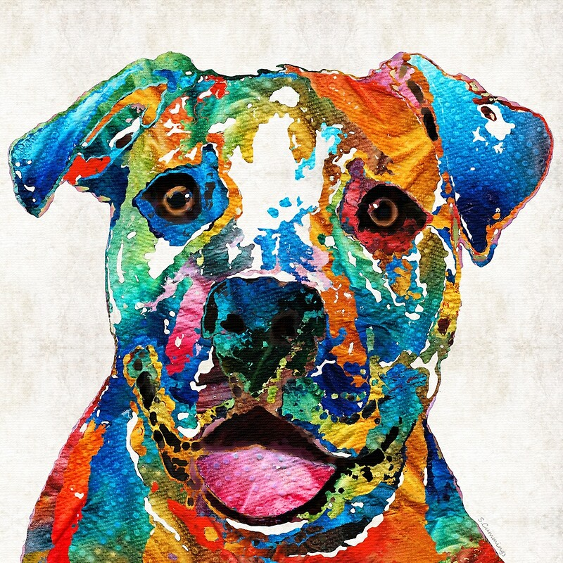 Quot Colorful Dog Pit Bull Art Happy By Sharon Cummings