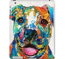Colorful Dog Pit Bull Art - Happy - By Sharon Cummings iPad Case/Skin