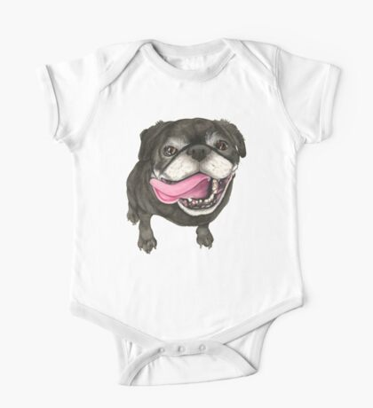 Black Pug One Piece - Short Sleeve