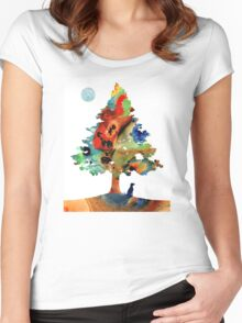 Dog Art - Contemplation 2 - By Sharon Cummings  Women's Fitted Scoop T-Shirt