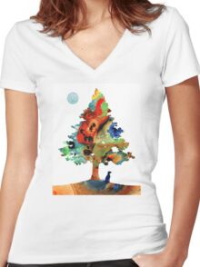 Dog Art - Contemplation 2 - By Sharon Cummings  Women's Fitted V-Neck T-Shirt