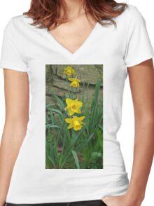 Garden Daffodils Women's Fitted V-Neck T-Shirt