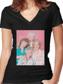Golden Girls Squad Kanji  Women's Fitted V-Neck T-Shirt