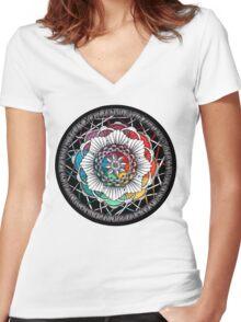 Rainbow Mandala Zen art Women's Fitted V-Neck T-Shirt