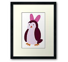 Pink Bow Penguin Framed Print