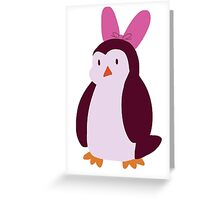 Pink Bow Penguin Greeting Card