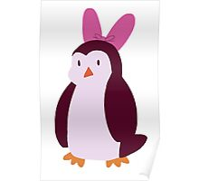 Pink Bow Penguin Poster