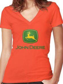 John Deere Fear Deer Women's Fitted V-Neck T-Shirt