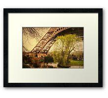 Eiffel Tower Paris Footprint Vintage Framed Print