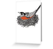 Robin Redbreast in Her Nest Illustration Greeting Card