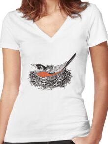 Robin Redbreast in Her Nest Illustration Women's Fitted V-Neck T-Shirt