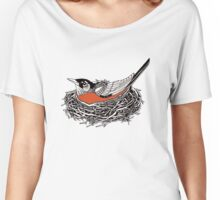 Robin Redbreast in Her Nest Illustration Women's Relaxed Fit T-Shirt