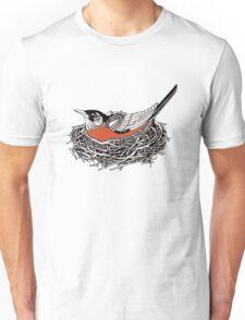 Robin Redbreast in Her Nest Illustration Unisex T-Shirt