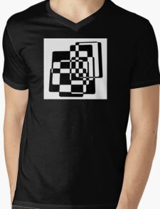 Abstract Black & White Squares Mens V-Neck T-Shirt