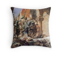 GEORGES JULES VICTOR CLAIRIN - The Entry of Mehmet II into Constantinople Throw Pillow