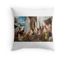 GEORGES-JULES-VICTOR CLAIRIN ; THE ENTRANCE OF THE OUASSAM CHEIK IN THE MOSQUE, TETOUAN (MOROCCO)   Throw Pillow