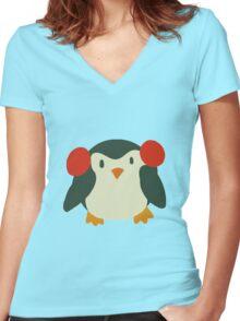 Cute Winter Penguin Women's Fitted V-Neck T-Shirt