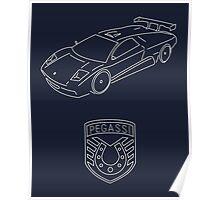 GTA V - Infernus Outline (White) Poster