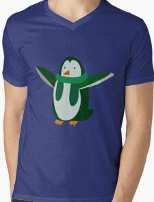Green Penguin Mens V-Neck T-Shirt