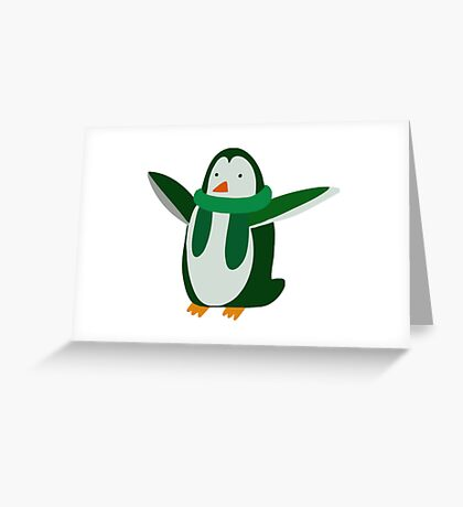 Green Penguin Greeting Card