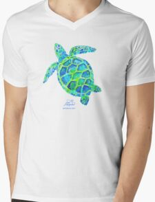 Sea Turtle green & blue by Jan Marvin Mens V-Neck T-Shirt