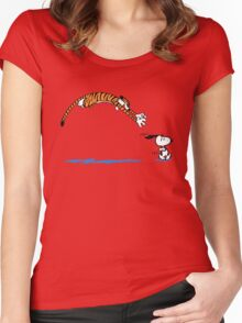 Hobbes And Snoopy Women's Fitted Scoop T-Shirt
