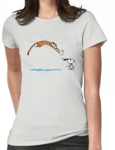Hobbes And Snoopy Womens Fitted T-Shirt