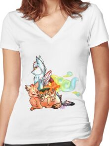Okami: The Wolves Of The Brush Women's Fitted V-Neck T-Shirt