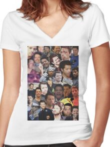Misha Collins Collage Women's Fitted V-Neck T-Shirt