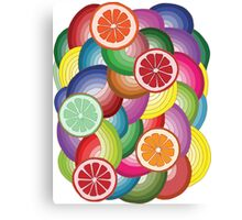 Abstract pattern with multicolor citrus fruits Canvas Print