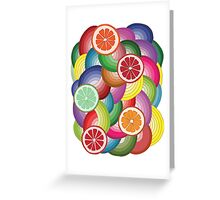 Abstract pattern with multicolor citrus fruits Greeting Card