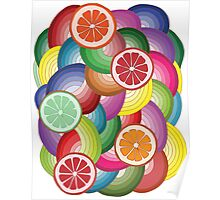 Abstract pattern with multicolor citrus fruits Poster