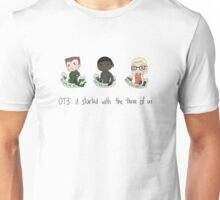 it started with the three of us Unisex T-Shirt