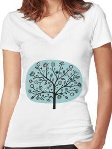 Stylized Flower Tree - Light Blue Green Women's Fitted V-Neck T-Shirt