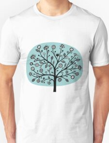 Stylized Flower Tree - Light Blue Green Unisex T-Shirt