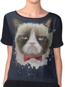 Cat with bow tie Chiffon Top