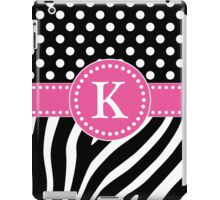 Black and White Zebra Stripes and Polka Dots K Monogram iPad Case/Skin