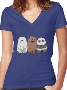 Baby Bears Women's Fitted V-Neck T-Shirt