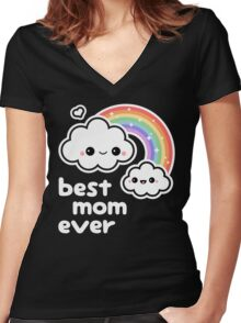 Cute Best Cloud Mom Women's Fitted V-Neck T-Shirt