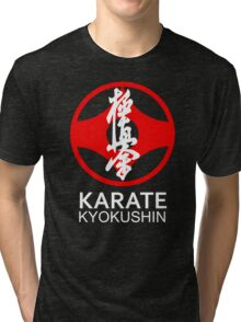 Kyokushin Karate Symbol and Kanji White Text Tri-blend T-Shirt