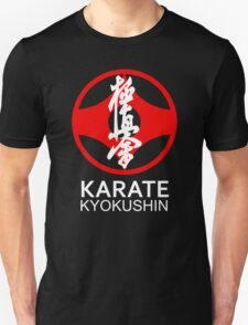 Kyokushin Karate Symbol and Kanji White Text T-Shirt