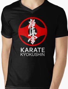 Kyokushin Karate Symbol and Kanji White Text Mens V-Neck T-Shirt