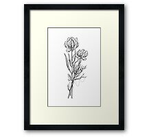 Flowers Lineart Tattoo Style // Black and White Framed Print