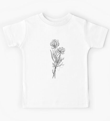 Flowers Lineart Tattoo Style // Black and White Kids Tee